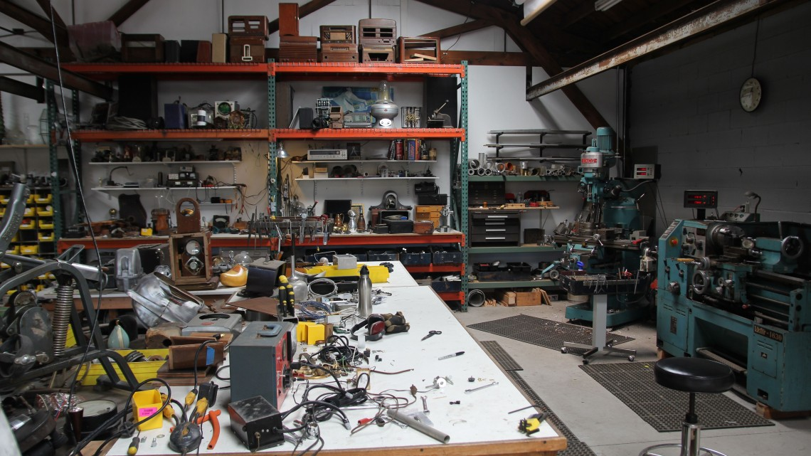 A view of my studio work benches and machines.