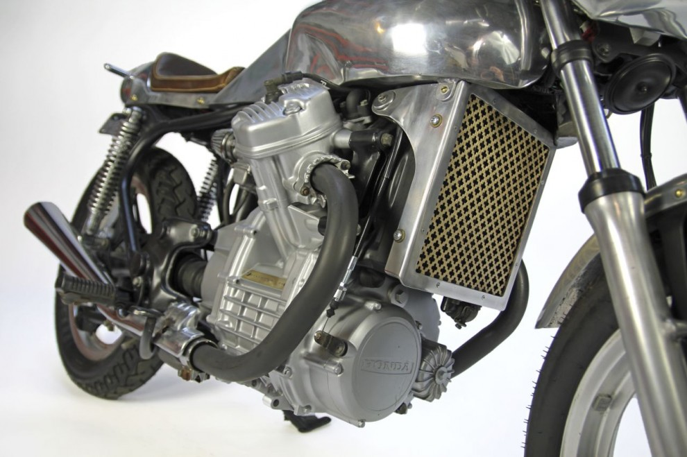 A custom Honda CX500 Cafe Racer style motorcycle project by artist Nemo Gould.